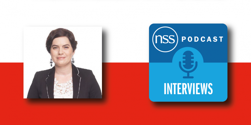 Poland flag with episode title and NSS podcast logo